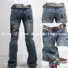 Men's Destroy Washed Brand Printed Jeans