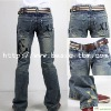 Men's Destroy Washed Brand Printed Jeans