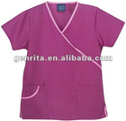 Fashionable Medical Scrub Top-Contrast Trim