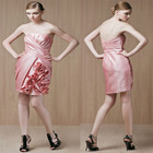 Discount Strapless Knee-length Flower Asymmetrical Ruched Bridesmaid Dress