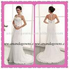 2013 exclusive design chiffon wedding dress with beading halter