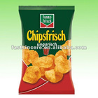 Flexible plastic food packing pouches for potato chips