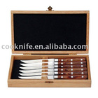 Hot sell 6Pcs Pakka Wood Handle Dinner Knife Set