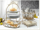4sets metal plate +bread+fork +napkin stand