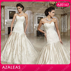AZ0167 Beading White and Gold Wedding Dress