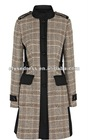 ElyseDress heavy wool inspired classic trench w horn buttons featuring Statement Check Coat CM039
