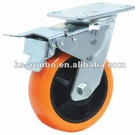 round face pu caster trolly wheel