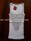 Ladies cotton knited with sequins tank top