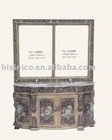 French& European hand carving wooden bathroom cabinet, marble top