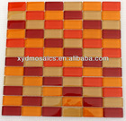Linear Red Yellow Beige Wall Glass Mosaic