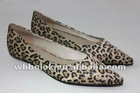 French toe style shoes lower heel suede vamp leopard pattern 2012
