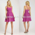 BD-097 Stunning tank top straps knee length chiffon bridesmaid dres