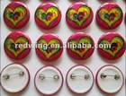 Heart Printed Promotion Tin Button Badge