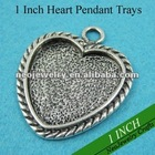 1 Inch Heart Pendant Settings, 25mm Heart Blank Pendant Trays to Match Clear Glass Cabochons Great for Photo Pendant Making