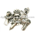 3D crowned skull with sword and scrolls western buckle ha02-64