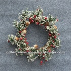 Decorative Artificial Christmas Pine Wreaths with Red Berry & Snow