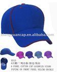 6 panel sports cap with piping