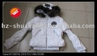 Lady fashion jacket with real fur around collar