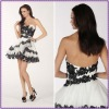 2012 Charming Sweetheart A Line Applique Satin And Tulle Mini Arabic Evening Dress
