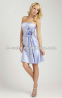 BD-094 Factory direct knee length country style bridesmaid dresses hand made flowers