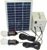 portable solar system 5W, 2 LED lights,1*5V USB, 4*12V output