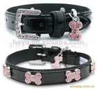 cheap price black pu leather pet dog collars