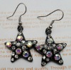shining star shape earring with colorful rhinestone/crystal