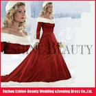 Top popular red satin long sleeve winter wedding dresses fur