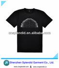 Custom high quality pure black print summer t shirt for men.
