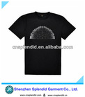Custom high quality pure black print summer t shirt for men.