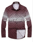 Men's thin long sleeve t shirt with a gradient checks