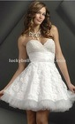 Pretty Beaded Pure White Lace Short Evening Dress