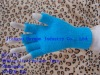pure blue acrylic and feather yarn knitted magic gloves with half fingers