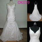 2012 v-neck spaghetti strap ruffle chapel train taffeta mermaid wedding dresses 2012