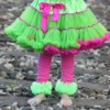 hot pink leg warmers with green ruffle