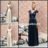 BMD153 Wonderful White Straps V-Neck Empire Pleats Lng Length Bridesmaid Dress