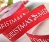 White Christmas Letter Print Grosgrain Ribbon