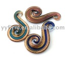 Gold-sand symbol Murano Lampwork Glass Pendant Necklace