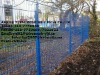 Blue powder coated fence
