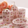 Oval floral 4 Piece Ceramic Bathroom Set Colour