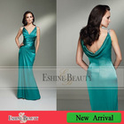 High quality floor-length sheath stretch satin V-neckline with two straps dresses evening