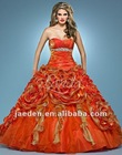 JQ0068 Cascading ruffled double color rolled flower design quinceanera dresses