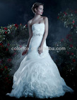 Elegant Empire Waist Crystal Beaded Belts Organza Ruffled Ball Gown Skirt Bridal Wedding Dress