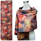 double layer digital print 100% silk scarf