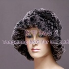 BG10199 Genuine Knitted Rex Rabbit Fur Hat OEM Wholesale/Retail