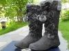 Designer women grey corduroy boots