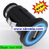 Sinoela luminous hard-wired colorful usb car charger with 10in1 cable, Car charger with USB output female
