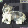 Resin cat figurine pet bowls & feeders