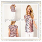2013 Summer Newest Ladies Striped T-Shirt In Bird Print