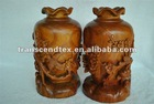 wooden carving craft wooden flower bottle wood vase